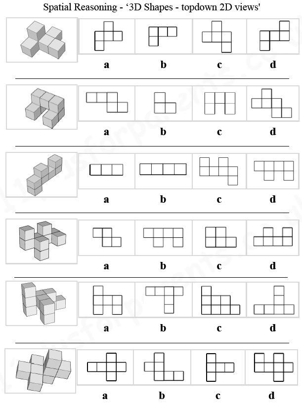 Printable Worksheets 2 d shapes worksheets : 11 Plus: Key Stage 2: 11 Plus Spatial Reasoning, 3D Shapes ...